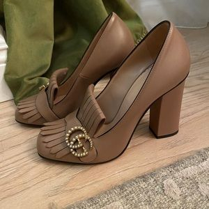 Gucci Marmont Nude pearl shoes 38.5